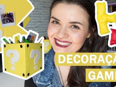 DIY - Decoração GAMES | Mural Pac-Man, porta-treco Super Mario e almofadas Tetris!