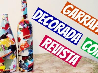 Garrafa Decorada com Revista - DIY