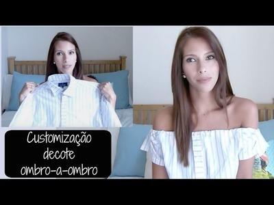#DIY : Camisa Social em Blusa Ombro-a-ombro! Customização!