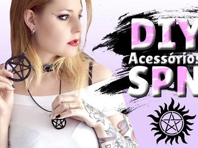 DIY - SUPERNATURAL (Brinco, colar, chaveiro e fivela) Acessórios com COLA QUENTE