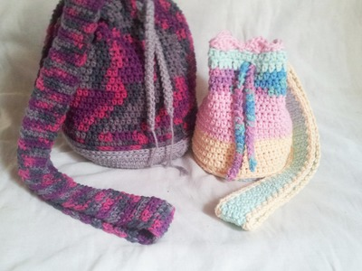 Bolsa Saco em Croche Candy Colors. Crochet Bag