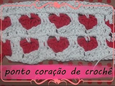 Ponto coração de crochê ♥