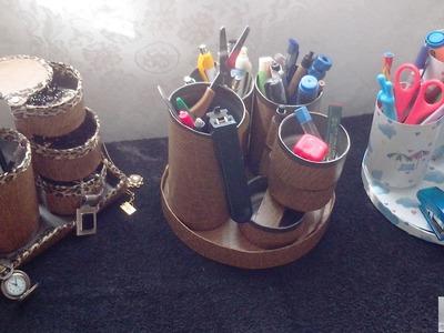 D.I.Y - Porta-lápis. Porta-jóias - giratório, acabamento em contact, elegante e delicado