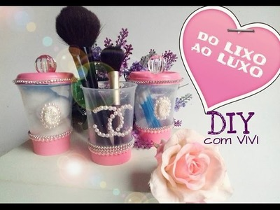 DO LIXO AO LUXO. KIT POTES DECORADOS COM POTINHOS DE REQUEIJÃO- DIY RECYCLED