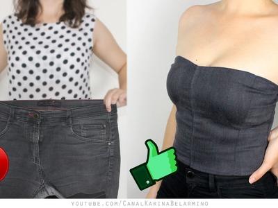 DIY - TOP de Calça Jeans Velha! | Karina Belarmino