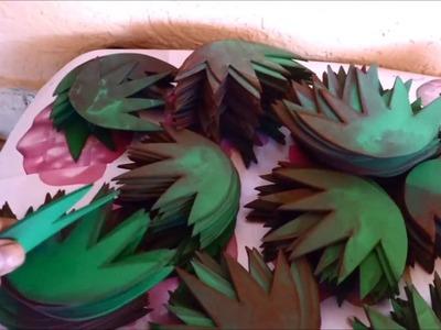 DIY - Pintando folhas  e sépalas de eva com anilina e álcool (etanol)