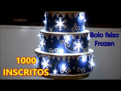 Bolo falso Frozen com luzes. DIY