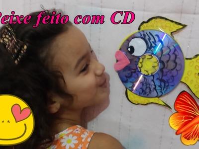DIY Peixinho feito com CD e EVA