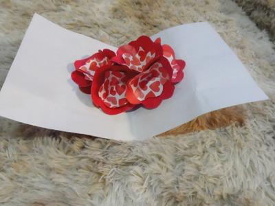 ORIGAMI ROSE ♥ CARTAO CRIATIVO 3D ORIGAMI COM FLORES DIY