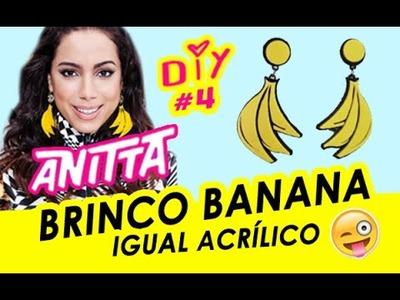 Brinco de banana Anitta = acrílico DIY funny earrings Estiloso = brinco de pompom e brinco de boca