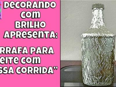 DIY | GARRAFA DECORADA para ENFEITE com MASSA CORRIDA #2