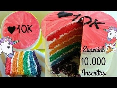 DIY - BOLO ARCO ÍRIS. RAINBOW CAKE ( ESPECIAL 10.000 INSCRITOS )