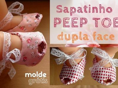 Sapatinho de bebê: PEEP TOE - dedinhos de fora com molde grátis (DIY Tutorial)
