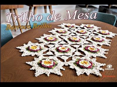 Trilho de mesa Crochê Barroco Brilho - Professora Simone