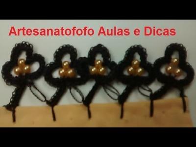 Bico de crochê com pérolas - CROCHÊ 48  - PASSO A PASSO