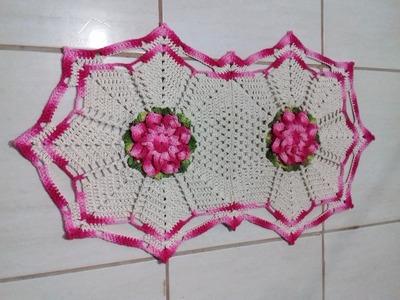 Jogo de Banheiro em Crochê -Tapete Pia # Flor Jade