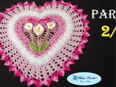 Jogo de Banheiro Coração Tapete de Pia 2.2 # Wilma Crochê
