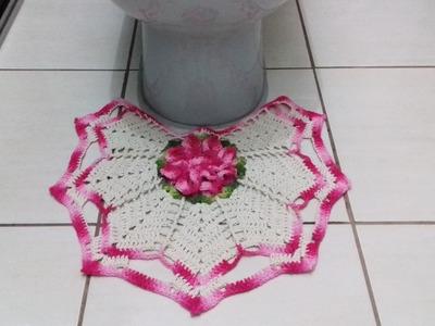 Jogo de Banheiro em crochê - Pé do Vaso # Flor Jade
