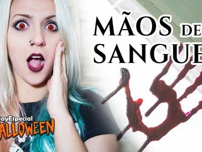 MÃO DE SANGUE   Decoração Fácil de Terror   Especial Halloween #02