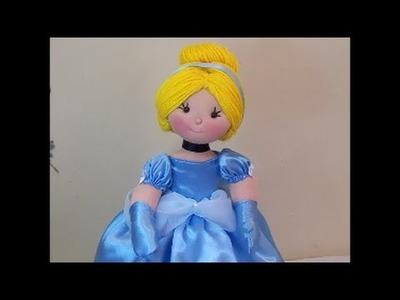 Como fazer boneca Cinderela (roupinha e cabelo)