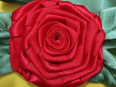 Flor de Tecido - ROSA QUADRADA  com FOLHAS de Fita de cetim!!! Fácil!!!Passo a Passo^^