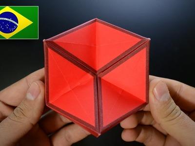 Origami: Brinquedo de Ação. Hexaflexágono 3D - Instruções em Português PT-BR
