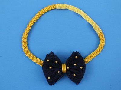 Passo a passo: Faixa de fio de seda e laço de renda.DIY Satin ribbon