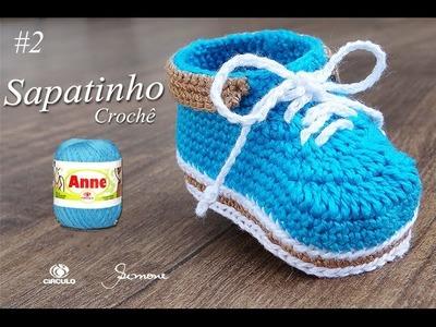Sapatinho de Crochê para Bebê | Parte 2 | Professora Simone