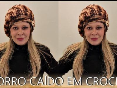 GORRO CAÍDO EM CROCHÊ.DIANE GONÇALVES
