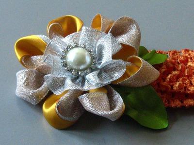 Novo modelo de flor de dupla fitas Passo a Passo
