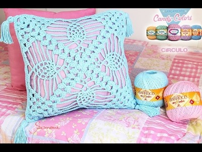 Almofada Crochê Ponto Abacaxi Candy Colors - Simone Eleotério