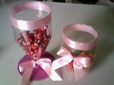 Baleiro de garrafa pet decoração de festa infantil e 15 anos fácil e prático.