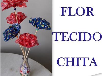 FLORES DE TECIDO - FLOR DE CHITA - APRENDA COMO FAZER - PASSO A PASSO