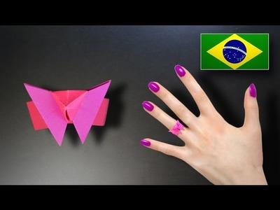 Origami: Anel de borboleta - Instruções em Português PT BR