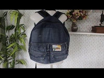 Mochila de calça jeans masculina - Reciclando