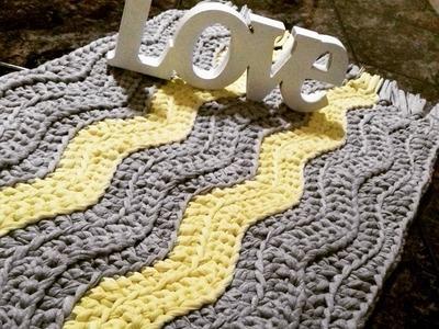 Tapete zig zag.chevron - alfombra de ganchillo