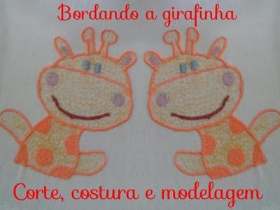 Bordando girafinha com máquina de costura doméstica # Corte, costura e modelagem com Elisa Crochê