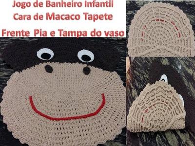 Jogo de banheiro infantil Cara de Macaco -Tampa do Vaso e Tapete frente pia parte 1.2
