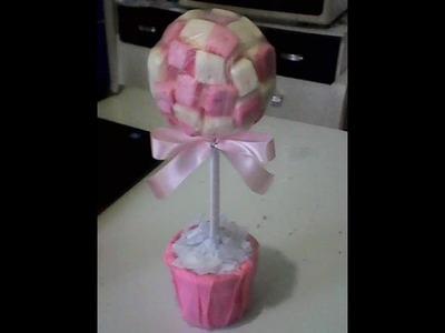 Como fazer árvore de marshmallow  centro de mesa