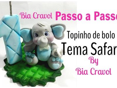 Elefante de Biscuit - topo de bolo - Safari - Bia Cravol