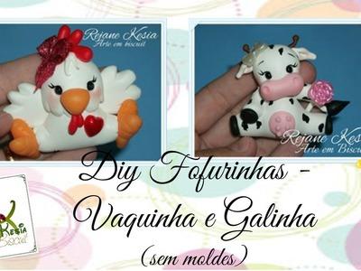 Fofurinhas - Vaquinha e galinha em biscuit - Reja Kesia
