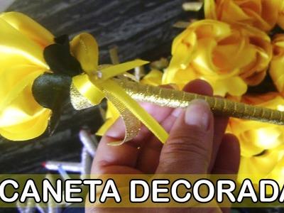 DIY - Caneta decorada com flor de cetim