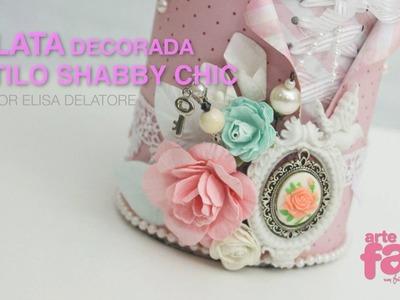 Lata Decorada Estilo Shabby Chic