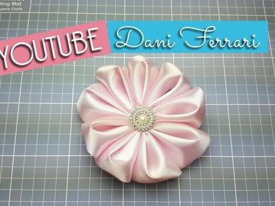 COMO FAZER FLOR DE FITA DE CETIM - TUTORIAL PASSO A PASSO - RIBBON FLOWER - DIY - Dani Ferrari
