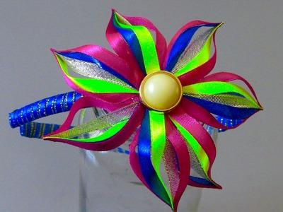 Novo modelo de flor de fitilhos colorido Passo a Passo