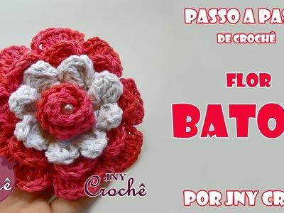 Flor de crochê Batom - JNY Crochê