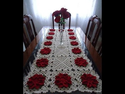 Caminho de Mesa com Flores em Crochê. Cristina coelho alves