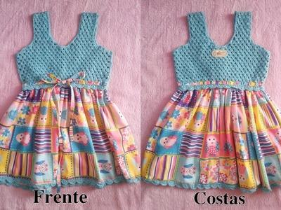 Como fazer um Vestido em tecido e crochê para Bebe