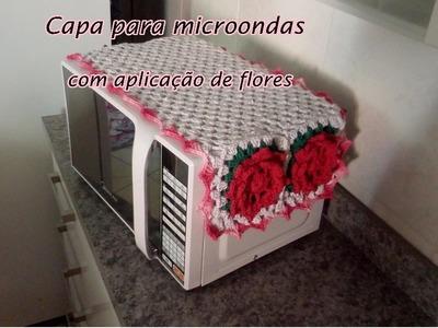 Jogo de cozinha   capa para microondas com aplicação de flores