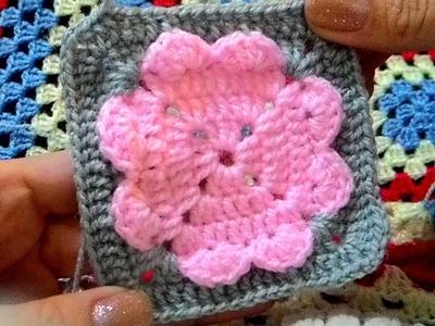 Square Flor Coração em Crochê